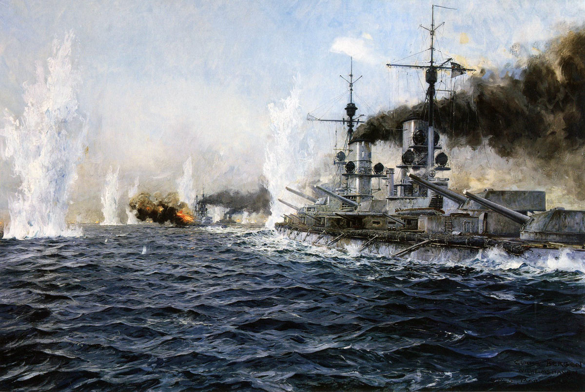 German Battleship SMS Markgraf firing on the British Fleet at the Battle of Jutland 31st May 1916: picture by Claus Bergen