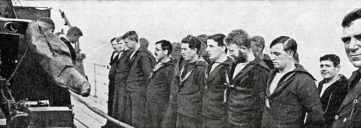 Members of the crew of HMS Shark before the Battle of Jutland on 31st May 1916. Probably none of the men in the photograph survived the battle