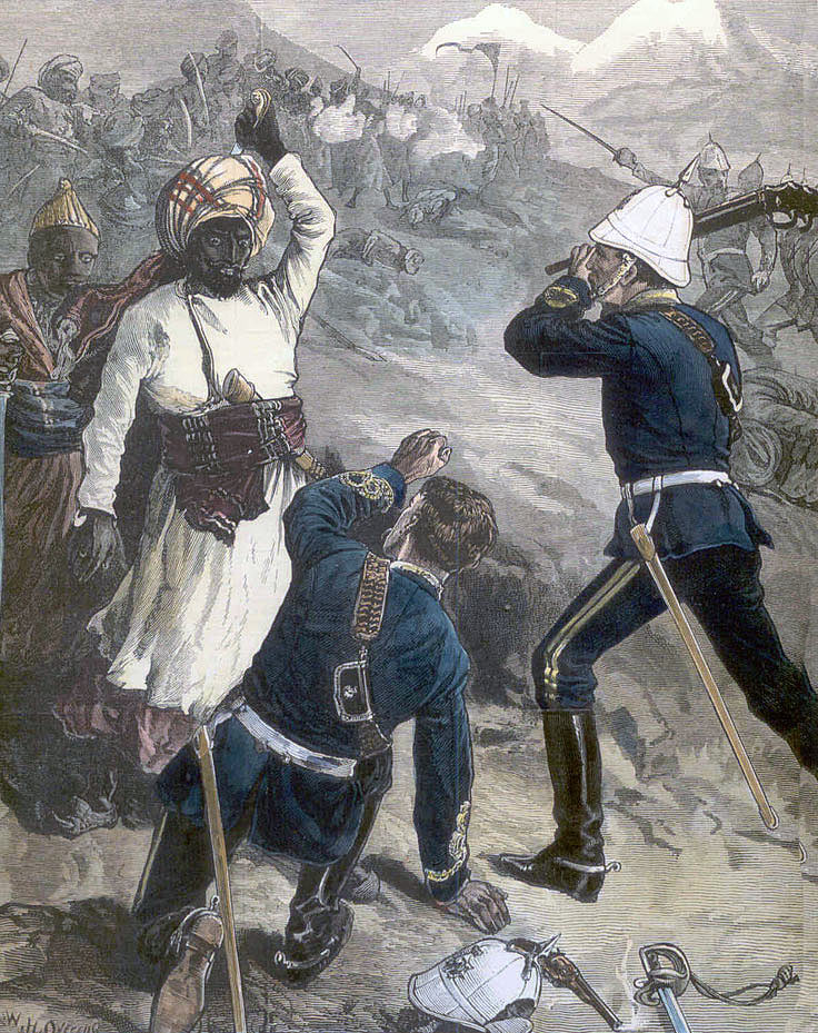 Lieutenant Fisher of the 10th Royal Hussars rescuing Lieutenant Wood of his regiment at the Battle of Futtehabad on 2nd April 1879 in the Second Afghan War
