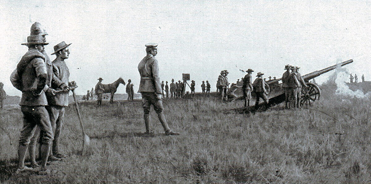 General Buller watching the Royal Navy's 4.7 inch guns in action at the Battle of Colenso on 15th December 1899 in the Boer War