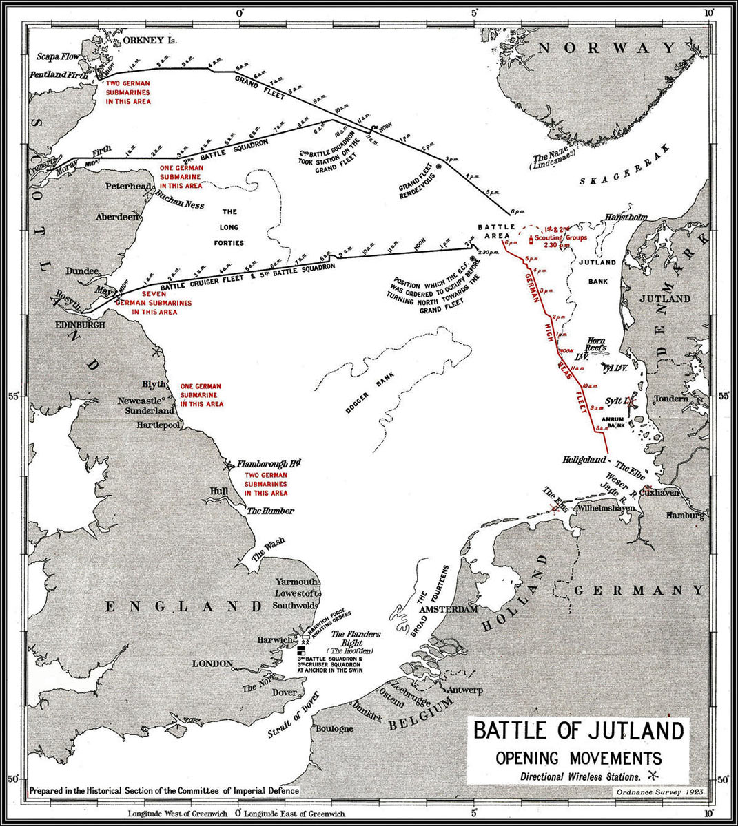 Map of the North Sea showing the advance of the British and German Fleets to the Battle of Jutland on 31st May 1916