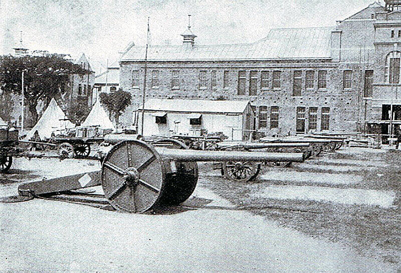 4-7 inch naval guns on Captain Percy Scott gun carriages at Durban used by the British at the Battle of Colenso on 15th December 1899