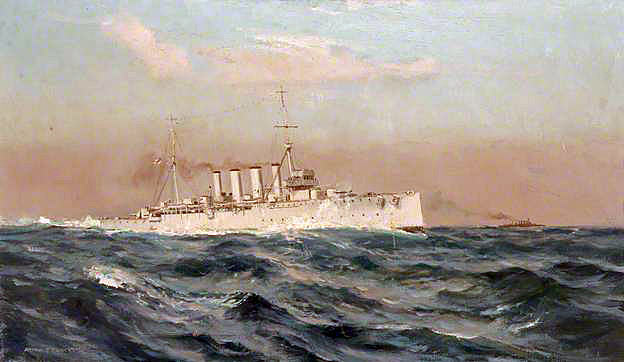 British Light Cruiser HMS Yarmouth. Yarmouth fought at the Battle of Jutland on 31st May 1916 in the 3rd Light Cruiser Squadron: picture by Arthur Burgess