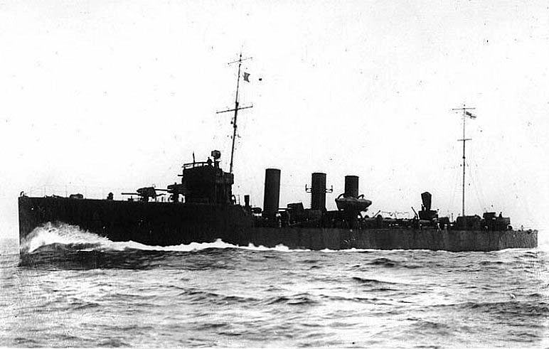 British Destroyer HMS Turbulent. Turbulent fought at the Battle of Jutland 31st May 1916 in the 10th Flotilla. She was run down by a German Battleship in the dark and lost with all hands