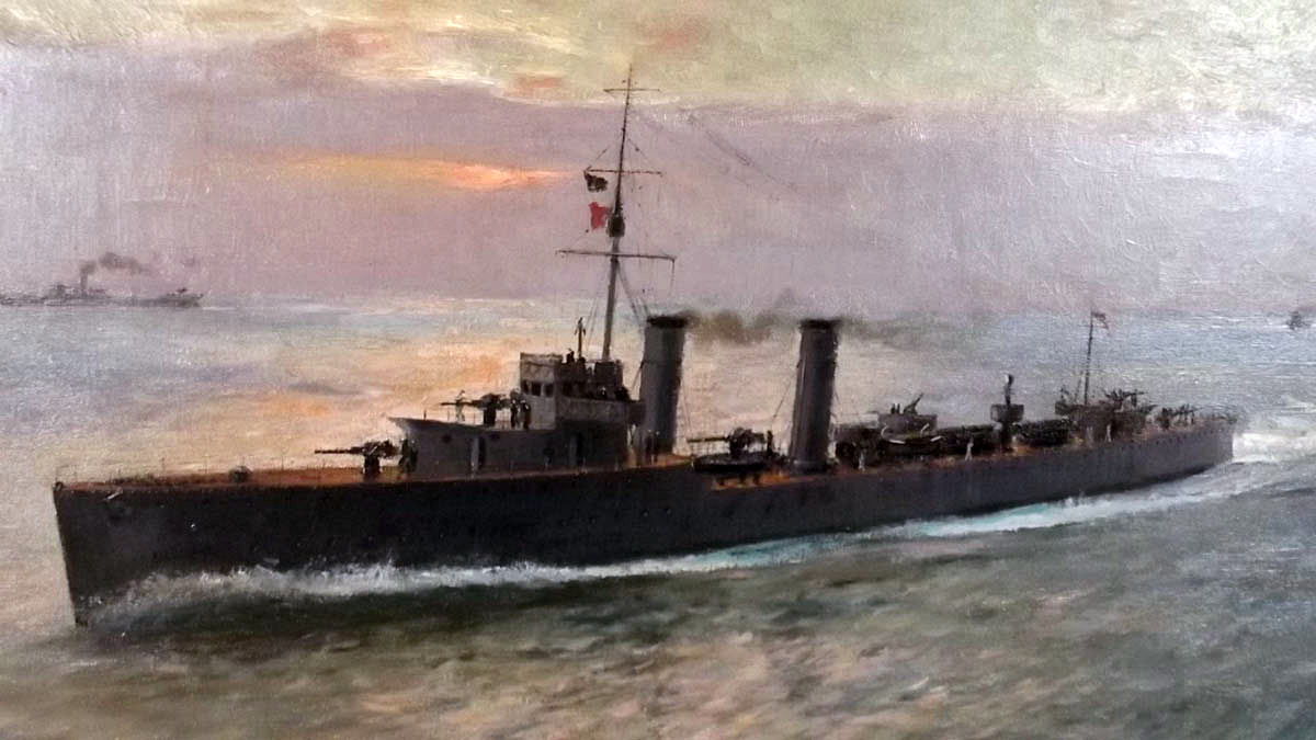 British destroyer in 1916: picture by Arthur Burgess