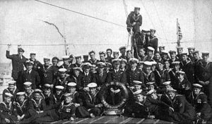 Crew of British Destroyer HMS Sparrowhawk. Sparrowhawk fought at the Battle of Jutland 31st May 1916 in the 4th Flotilla