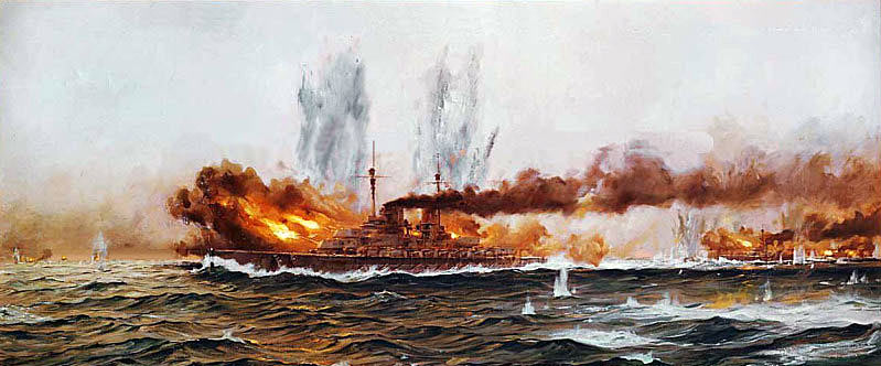 German Battle Cruiser SMS Lützow opens fire in the opening minutes of the Battle of Jutland on 31st May 1916