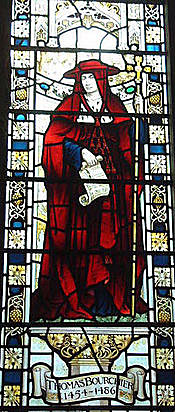Cardinal Archbishop Bouchier: memorial window in Sevenoaks Church, Kent: Battle of Northampton on 10th July 1460 in the Wars of the Roses