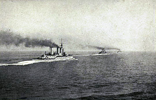 British battle cruisers HMS Queen Mary Princess Royal and Lion around 1pm on 31st May 1916 about 2 hours before the Battle of Jutland began: contemporary photograph taken from HMS Tiger the next battle cruiser in line