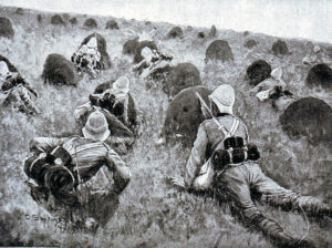 British troops learning to take cover in Natal during the Boer War