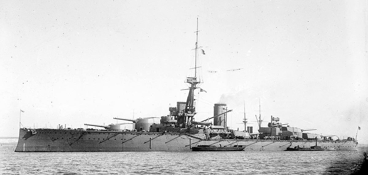 British Battleship HMS Monarch. Monarch fought at the Battle of Jutland on 31st May 1916 in Vice Admiral Sir Thomas Jerram's 2nd Battle Squadron