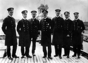 Vice-Admiral Franz Hipper (in the centre), commander of the German 1st Scouting Group (battle cruisers) at the Battle of Jutland on 31st May 1916 and his staff