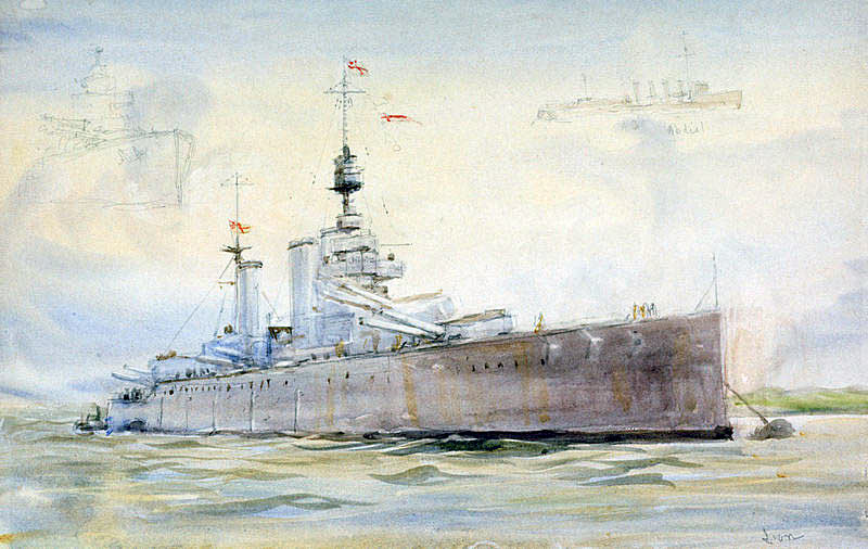 British Battle Cruiser HMS Lion. Lion was Admiral Beatty's Flagship at the Battle of Jutland 31st May 1916: picture by Lionel Wyllie