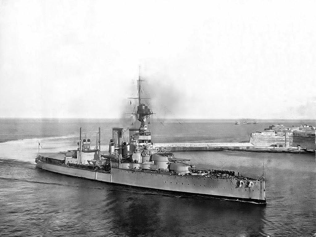 British Battleship HMS Centurion. Centurion fought at the Battle of Jutland on 31st May 1916 in Vice Admiral Sir Thomas Jerram's 2nd Battle Squadron