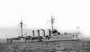 British Cruiser HMS Black Prince. Black Prince fought at the Battle of Jutland 31st May 1916 as part of Admiral Arbuthnot's 1st Cruiser Squadron. Black Prince was sunk during the night with all hands