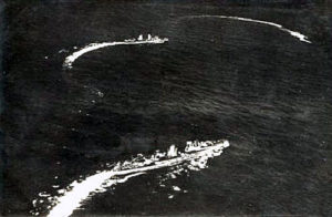 German battle cruisers SMS Seydlitz and von der Tann turning to attack in the opening stages of the Battle of Jutland 31st May 1916