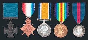 Victoria Cross and medals of Commander Loftus Jones RN awarded posthumously for his conduct at the Battle of Jutland 31st May 1916