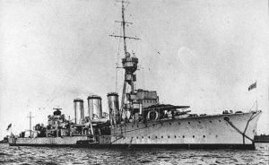 British Light Cruiser HMS Galatea. Galatea fought at the Battle of Jutland on 31st May 1916 as the lead of the 1st Light Cruiser Squadron