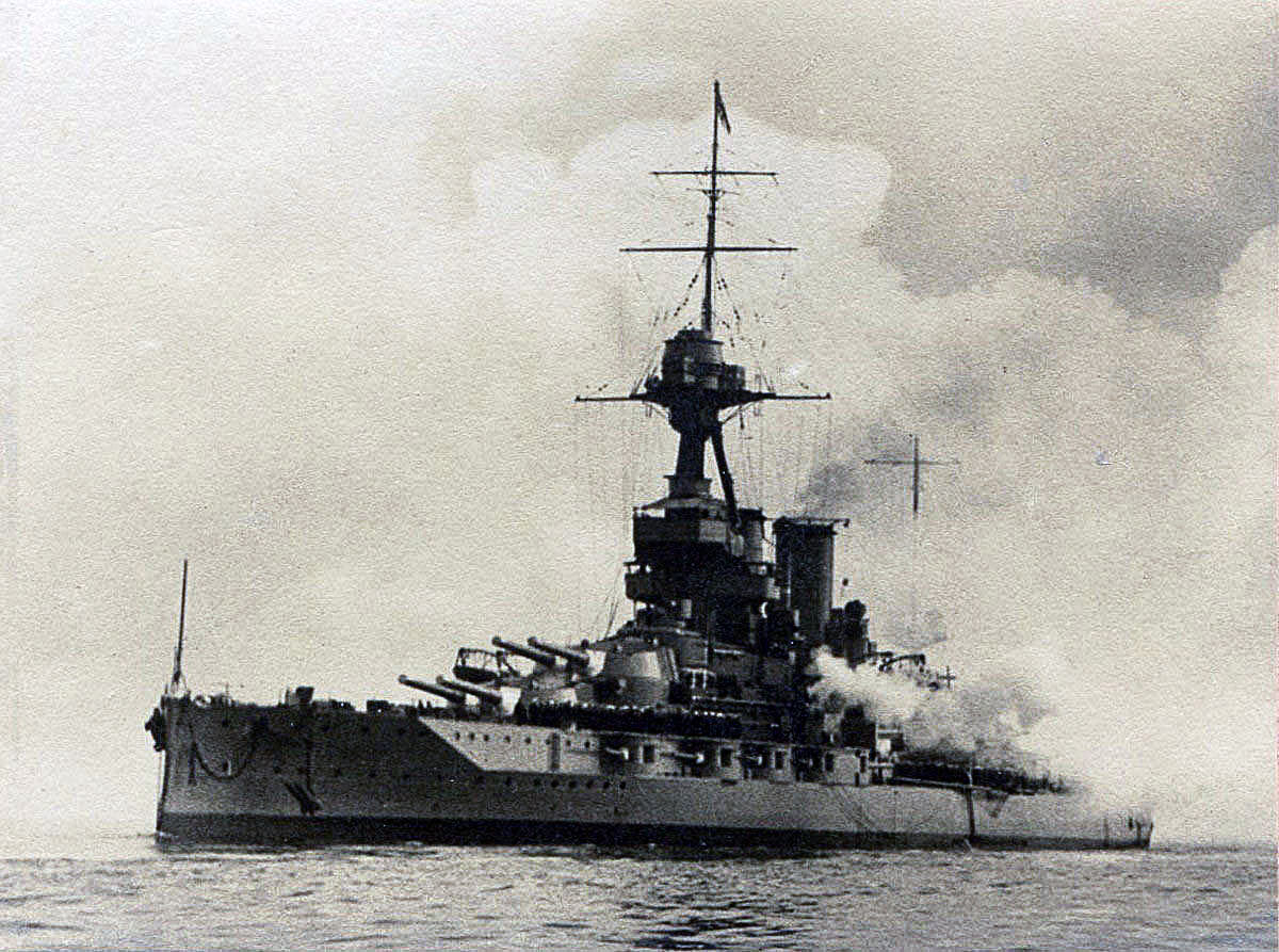 British Battleship HMS Iron Duke. Iron Duke fought at the Battle of Jutland on 31st May 1916 in Vice Admiral Sir Doveton Sturdee's 4th Battle Squadron as Admiral Jellicoe's Fleet Flagship