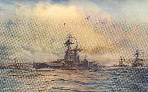 British Battleship HMS Benbow. Benbow fought at the Battle of Jutland 31st May 1916: picture by Lionel Wyllie