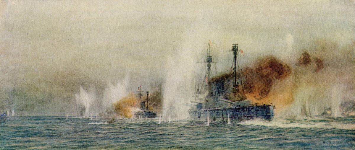 British Cruisers HMS Warrior and Defence of Admiral Arbuthnot's 1st Cruiser Squadron in action against Hipper's Battle Cruisers at the Battle of Jutland 31st May 1916: picture by Lionel Wyllie