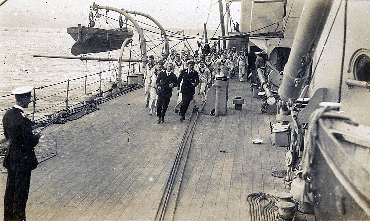 HMS Barham gun crew being timed going to 'Action Stations'