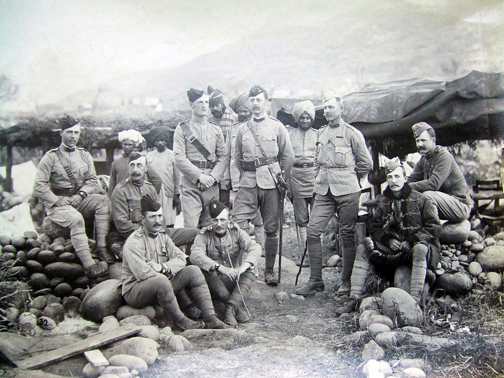 Colonel J.M. Sym, commanding First Column, Hazara Field Force, with his staff: Black Mountain Expedition from 1st October 1888 to 13th November 1888 on the North-West Frontier of India