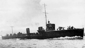 British Destroyer HMS Ardent. Ardent fought at the Battle of Jutland 31st May 1916 in the 4th Flotilla being sunk during the night action