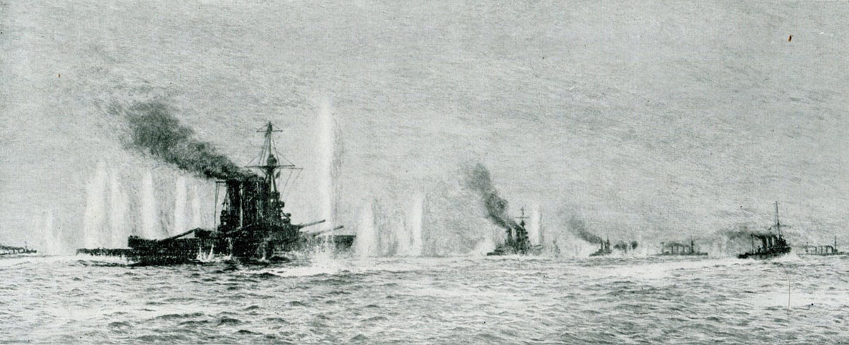 British warships HMS Tiger, Princess Royal, Lion, Warrior and Defence in action at the Battle of Jutland 31st May 1916 shortly before Defence was sunk: picture by Lionel Wyllie