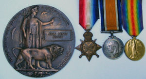 Trio of medals and plaque for Private Butlin RMLI killed on HMS Black Prince at the Battle of Jutland 31st May 1916