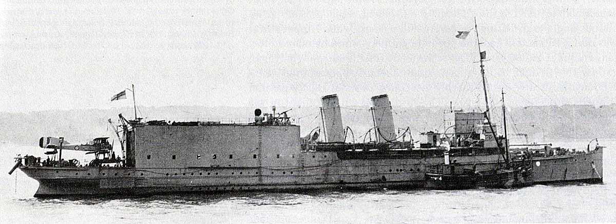 British Seaplane Carrier HMS Engadine. Engadine fought at the Battle of Jutland on 31st May 1916 with Admiral Beatty's Battle Cruiser Fleet. The seaplane that provided information on the approaching German ships was a Short 184 flown by Flight Lieutenant Frederick Rutland from Engadine