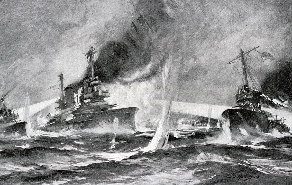 British 13th Flotilla Destroyers attacking the German Battleships in the early hours of 1st June 1916 Battle of Jutland