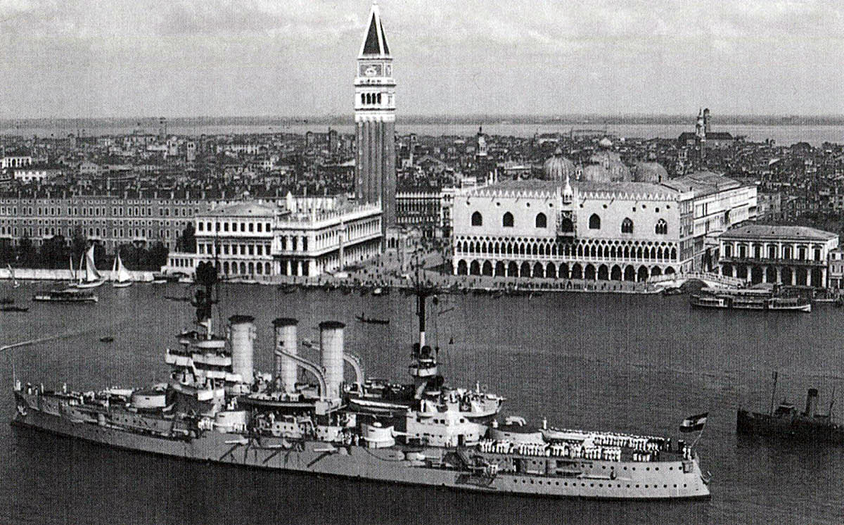 German pre-Dreadnought Battleship SMS Hessen in Venice in 1926 as a vessel of the Reichsmarine. Hessen fought at the Battle of Jutland 31st May 1916 in Admiral Mauve's 2nd Battle Squadron