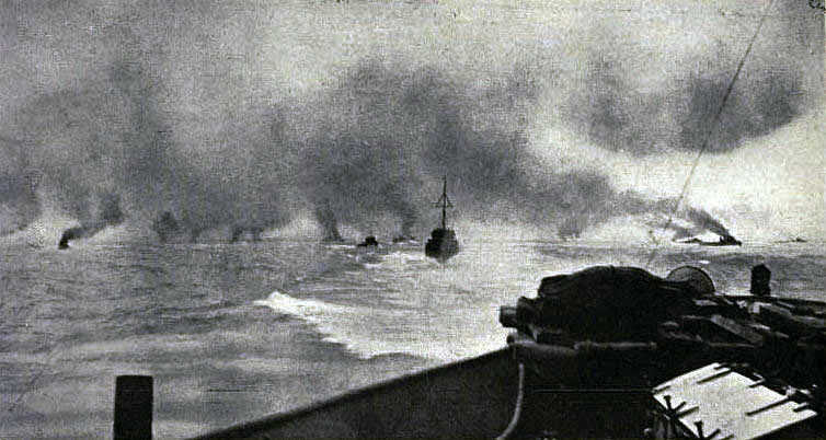 British battle cruisers first catch sight of the German ships at 3.20pm on 31st May 1916: contemporary photograph taken from a British ship