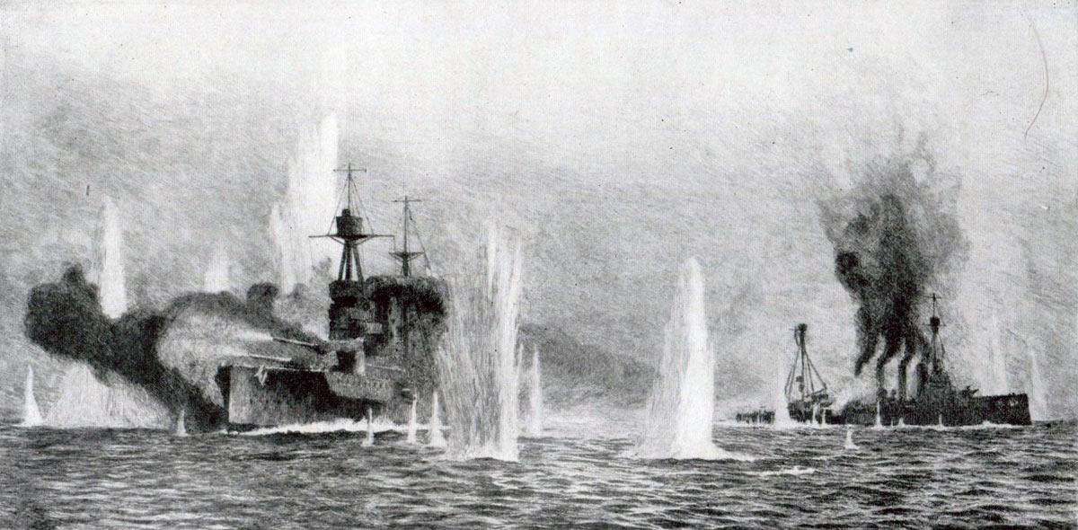 British warships HMS Warspite and Warrior in action at the Battle of Jutland 31st May 1916 after the sinking of HMS Defence: picture by Lionel Wyllie