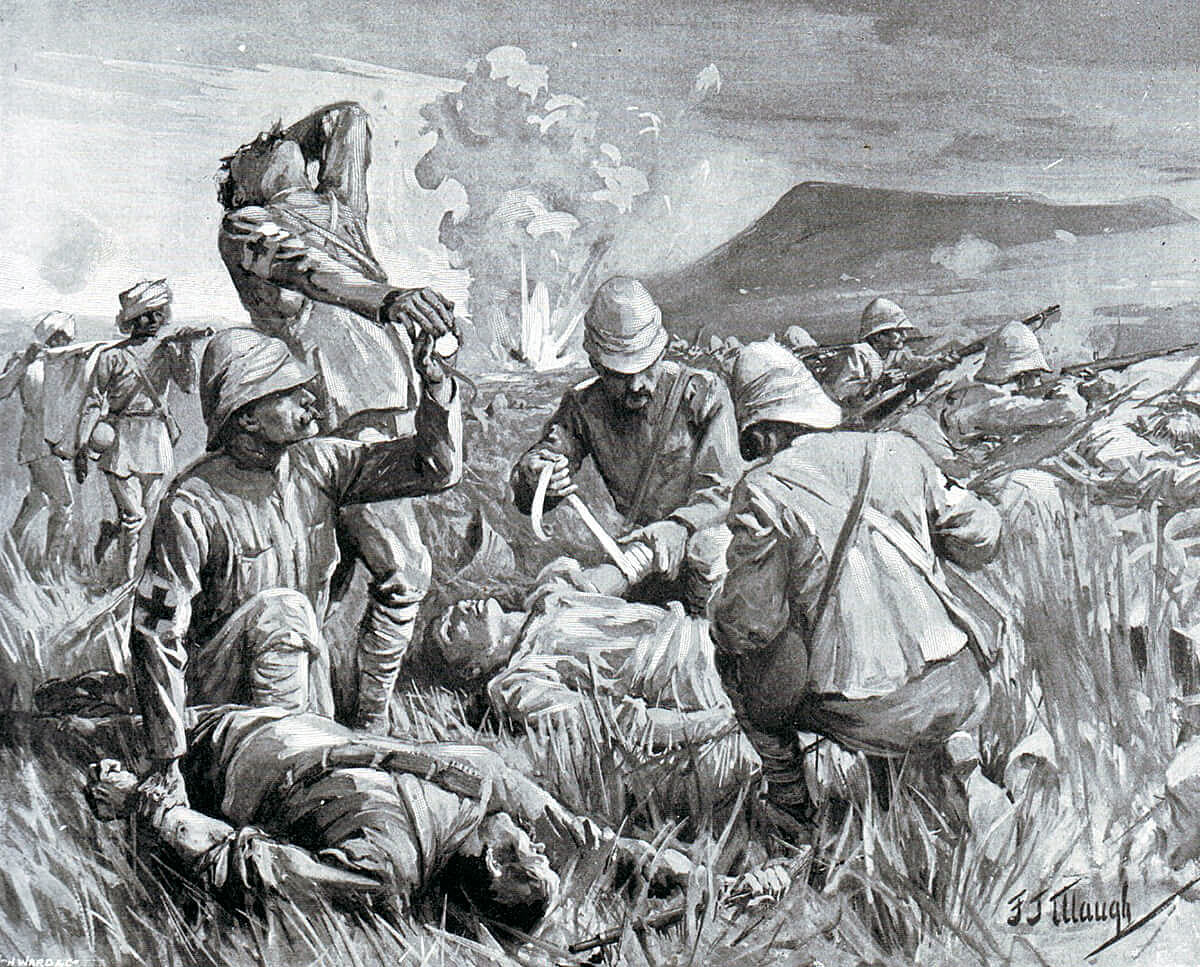 Army medical staff tending the wounded at the Battle of Colenso on 15th December 1899