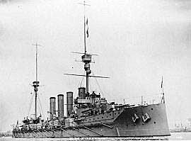 British Heavy Cruiser HMS Defence. Defence was sunk with heavy loss of life at the Battle of Jutland on 31st May 1916 as flagship of the 1st Cruiser Squadron commanded by Rear-Admiral Sir Robert Arbuthnot