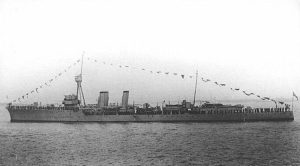 British Light Cruiser HMS Calliope. Calliope fought at the Battle of Jutland on 31st May 1916 in the 4th Light Cruiser Squadron