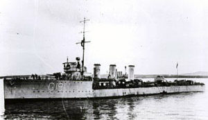 British Destroyer HMS Opal. Opal fought at the Battle of Jutland 31st May 1916 in the 12th Flotilla