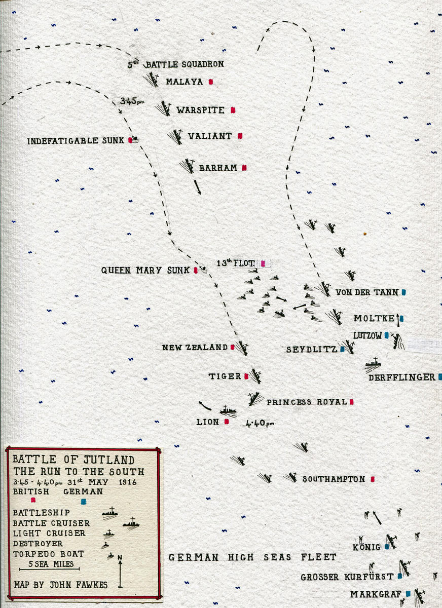 Map of the 'Run to the South' by the British and German Battle Cruiser Fleets in the opening phase of the Battle of Jutland 31st May 1916: map by John Fawkes