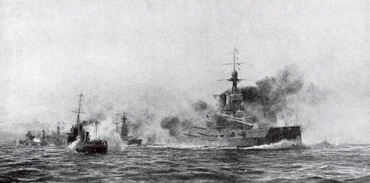Crew of the British Destroyer HMS Acasta damaged and unable to move cheer the Commander-in-Chief Admiral Jellicoe as he passes in HMS Iron Duke at the Battle of Jutland 31st May 1916: picture by Lionel Wyllie