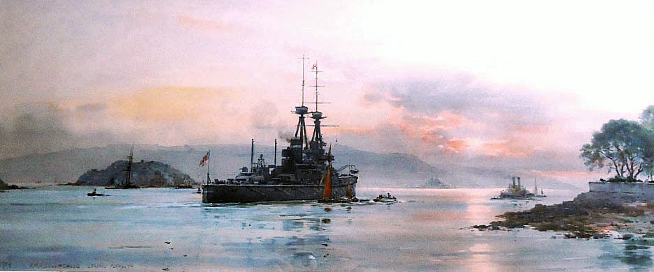 British Battleship HMS Collingwood leaving Plymouth before the First World War