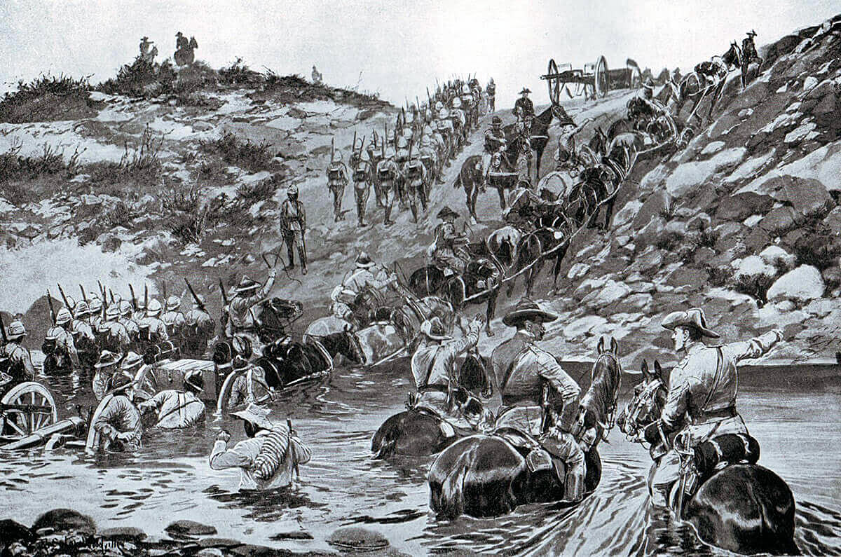 General Buller's army marching from Frere to Chieveley to mount the attack at Colenso on 15th December 1899