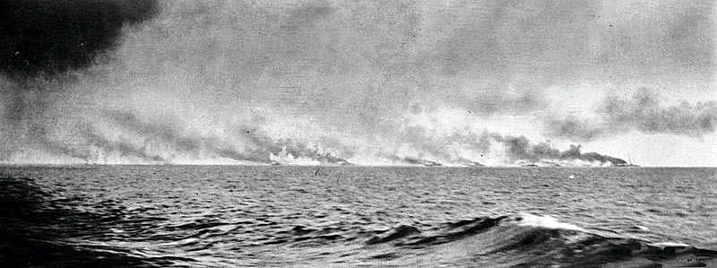 Second of a sequence of photographs of the opening stages of the Battle Cruiser action at the Battle of Jutland 31st May 1916 taken at 3.30pm by Paymaster Lieutenant Duckworth from HMS Birmingham. The vertical white clouds are spouts of water put up by exploding heavy calibre shells