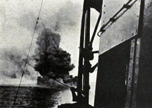 British Battle Cruiser HMS Invincible explodes at the Battle of Jutland 31st May 1916: photograph taken from HMS Indomitable