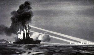 German Battleship SMS Pommern being torpedoed in the early hours of 1st June 1916 Battle of Jutland by British 12th Destroyer Flotilla with the loss of her crew