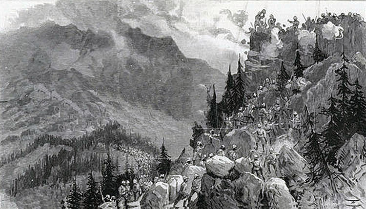 2nd Northumberland Fusiliers and Khyber Rifles storming the Chaila Crag: Black Mountain Expedition from 1st October 1888 to 13th November 1888 on the North-West Frontier of India