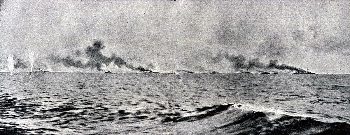 Fourth of a sequence of photographs of the opening stages of the Battle Cruiser action at the Battle of Jutland 31st May 1916 taken by Paymaster Lieutenant Duckworth from HMS Birmingham. The vertical white clouds are spouts of water put up by exploding heavy calibre shells