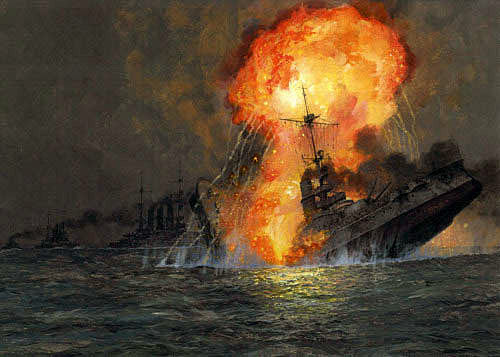 German Battleship SMS Pommern explodes and sinks with the loss of her crew at the Battle of Jutland on 31st May 1916
