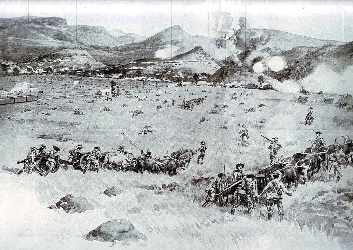 Royal Navy 12 pounder field guns advancing at the Battle of Colenso on 15th December 1899
